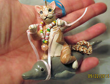 CAT RIDING DOLPHIN ORNAMENT polymer clay unique tan tabby porpoise pink ribbon