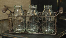 PRIMITIVE  HOME DECOR ~Basket w/3 Bottles~ COUNTRY ~ KITCHEN