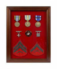 Military Award Shadow Box - Medal Display Case BLUE Felt- Mahogany Frame