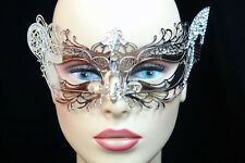 LASER CUT Metal Venetian Masquerade Costume Prom Party Wedding Silver Cat Mask