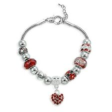 Red Crystal & Glass Red Hot Love Heart Bead Charm Bracelet