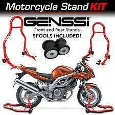 Red Bike Stand Kit Front & Rear Lift Spool Package for Suzuki SFV650 Gladius