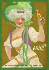 "17"" X 24"" Reproduced Edelweiss Beer P. Schoenhofen Brewing Co. Chicago on Canvas"