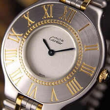 Authentic Must De Cartier 21 Century Gold Plated Quartz Mens Wrist Watch