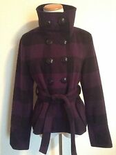 Pre-Owned GUESS Purple/Black Plaid Wool Blend Double-Breasted Coat, Size M