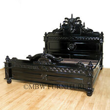 Solid Mahogany Black Finish Gothic King Bed (CUSTOMIZABLE)  (SO)