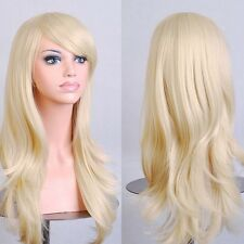 Synthetic Long Layer Full Head Wigs Cosplay Party Daily Fancy Dress Linne Blonde