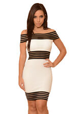 White & Black Slash Neck Clubbing Bodycon Mini Dress Club Cage Off Shoulder 66