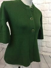 Vince Green Cashmere Short Sleeve Cardigan Sweater Size Small