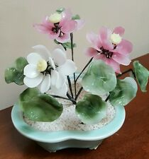 Vintage ORIENTAL Asian CHINESE Jade GLASS Agate PLANT Flower BONSAI Arrangement