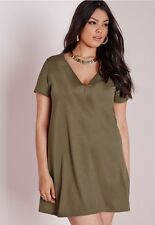 MISSGUIDED ASOS PLUS KHAKI CREPE SWING DRESS 22 BNWT