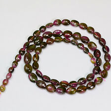 Watermelon Tourmaline Smooth oval nugget Bead 16.5 inch strand