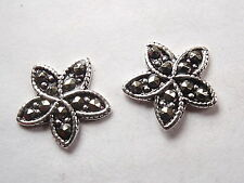 Marcasite Five Pointed Star Stud Earrings 925 Sterling Silver Corona Sun Jewelry