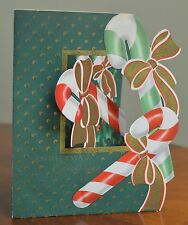 Mid-Century VINTAGE Christmas Card POP-OUT POP UP FOLD OUT CANDY CANES  DIE-CUT