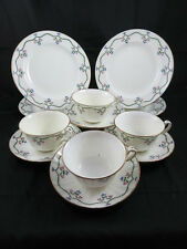 Minton H1734 12pc cup and saucers lunch  Green Garland Pink Flowers Gold Trim