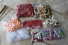 Huge lot 8 pkgs plastic wood craft jewelry beads beading peach red brown