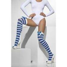 Womens Ladies Sexy Thigh High Blue White Stripe Stocking with Bow Fancy Dress