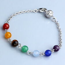 7 Chakra Healing Round Resin Beads Chain Bracelet Reiki Quartz Bangle Unisex