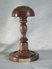 WOODEN SHORT HAT WIG STAND DARK OAK WOOD ENGRAVED  HANDMADE BARRISTERS JUDGE ETC