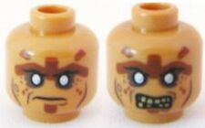 LEGO - Minifig, Head Zombie w/ Silver Eyes Face Lines Closed Mouth / Bared Teeth