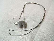 Vintage Sterling Bear Pendant on silver tone chain
