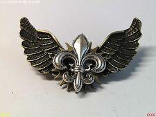 steampunk badge brooch pin fleur de lys French heraldry owl wings Harry Potter