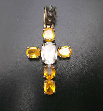 Women's/Men's Silver Vintage Coloured Glass Cross Weight 13.7g H55mm x 28m