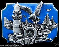 Lobster Fishing Fisherman Seagull Old Lighthouse Belt Buckle