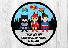 35 x Personalised Superhero Birthday Party Stickers Thank You Seals