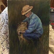 Original Vintage Oil Painting (1967) Farmer and Dog