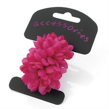 2 HOT PINK flower ponios pony tail eLASTIC  HAIR PARTY school hA28551 BOBBLES