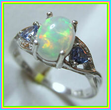 Ethiopian Welo Opal Tanzanite Ring Platinum over Sterling Silver 925 size 6 7