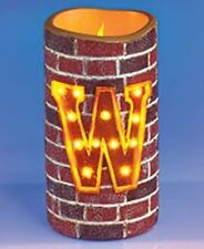 FLAMELESS MONOGRAM INITIAL MARQUEE BRICK-LOOK CANDLE IN LETTERS - W-