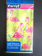 "Pink Flamingo Tropical Lightweight Plastic Table Cover 54"" x 108"" BRAND NEW"