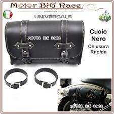 Borsa Laterale Moto Bag Porta Documenti in Cuoio Nero Universale M212