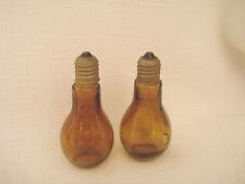 Vintage....Amber Glass...Hand Blown.....Light Blubs....Salt  & Pepper Shakers