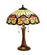 """CH33448AV16-TL2 Victorian Tiffany Style Stained Glass 2-Lt Table Lamp 16"""" Shade"""
