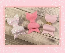 Mixed Pink Glitter Fabric & Leatherette  Hair Bows Set Of 3 Clips