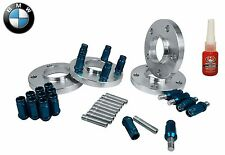 BMW 12mm & 17mm Wheel Spacers Plus Stud Conversion & Blue Racing Lug Nuts Kit
