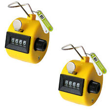 2 x YELLOW HAND TALLY 4 DIGIT HEAD COUNTER CLICKER
