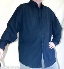 XL Perry Ellis Black Long Sleeve Button Down Shirt Rayon Polyester Smooth / Soft