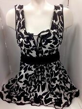 Dolce Gabanna Top Black And White Silk  Size 4(38)
