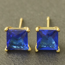 Beautiful 9K Yellow Gold Filled 7mm Blue Sapphire CZ Square Stud Post Earrings