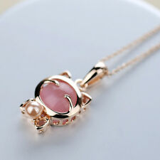 Fashion Women Eye Opal Stone Bow Pearl Lucky Cat Pink Gift New Pendant Necklace