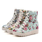 Fashion Girls Womens Floral Hidden Low Wedge Heel Sneaker Ankle Canvas Shoe Boot