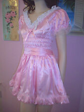 PRETTY PINK SATIN/ORGANZA/WHITE LACE SISSY DRESS   SIZE M