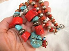 Vntg Huge Red Coral,Large Turquoise Nugget & Beads Chunky Necklace-Earrings SET