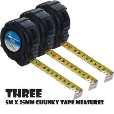 3 X CHUNKY TAPE MEASURING MEASURES 5 M x 25 MM SHOCK PROOF METRIC IMPERIAL P262
