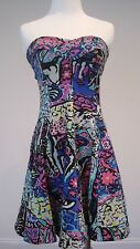 Betsey Johnson Collection Dress Strapless Fit Flare Retro 80s Multi-color Small