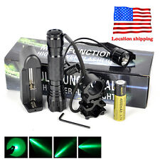 501B Green Light LED Tactical Hunting Flashlight+Scope Mount+Remote Switch+18650